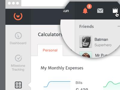 Layout One web website layout orange navigation tabs chart dashboard