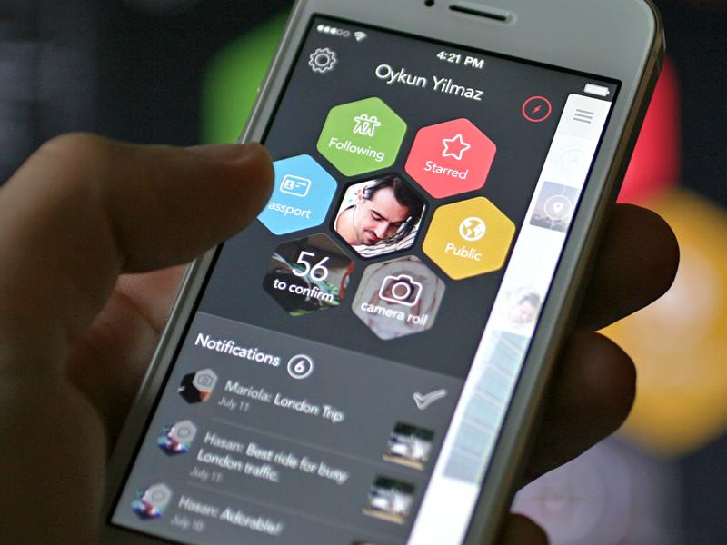 Menu Concept (iOS) mobile ios iphone menu hexagon design early stage ios7 notification