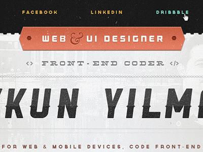 Redesigning oykun.com website web ui orange black white blue portfolio ui interface texture pictos web