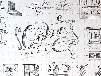 Sketching Letters (first attempt) sketch typography pen pencil fun oykun dot grid book drawing pinocchio sketchbook type