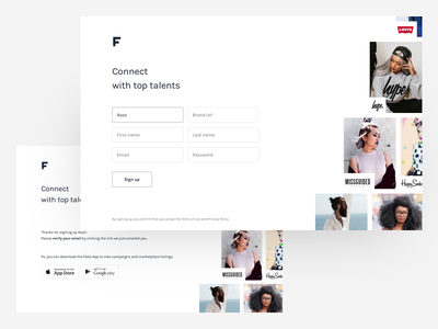 Brand signup for Feels clean simple minimal web website landing fashion responsive signup