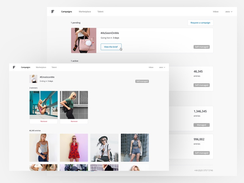 Feels: Campaigns feels photo grid web app web website fashion minimal simple clean