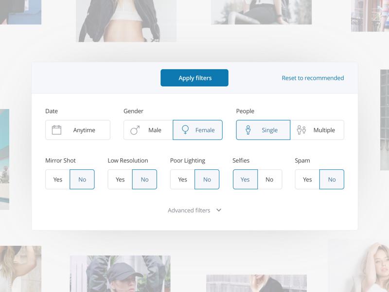 Filtering photos photos web app website icon form search ai modal filter feels