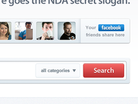 Facebook friends + Search product