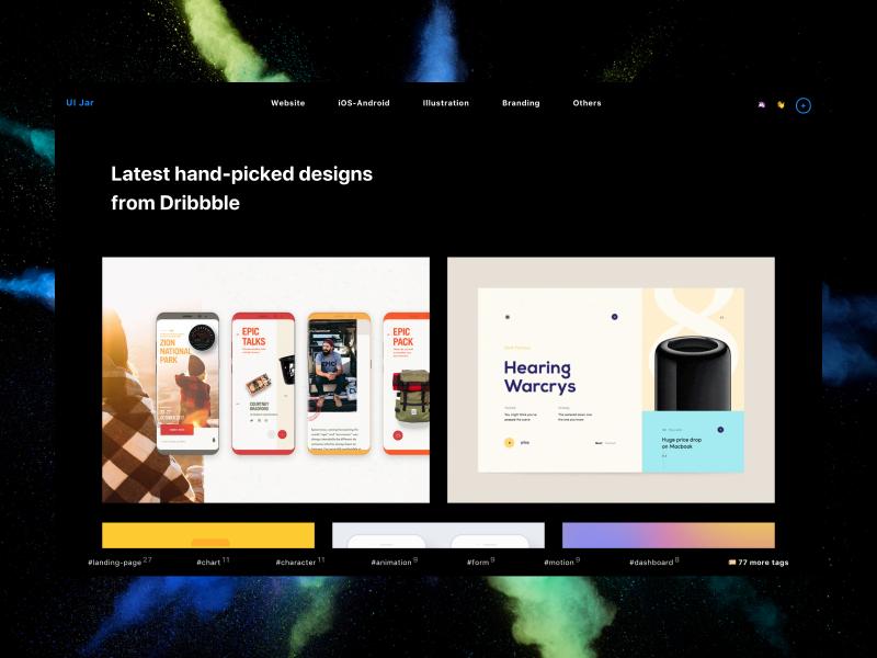 uijar.com is launched 🚀 tachyons rubyonrails responsive website side project explore inspiration dark dribbble uijar