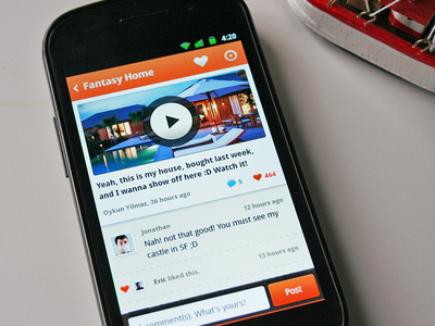 Post Details - Video (Android) android mobile nexus ui ux icon comment video like actionbar button
