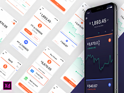 Dark style for Adobe XD Cooin Crypto UI Kit kit ui kit uikit dark adobecreativecloud adobepartner adobe adobe xd adobexd crypto finance fintech madewithadobexd