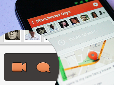 """""""Create memory"""" secondary button (Android) android mobile nexus ui ux icon comment video like actionbar button"""