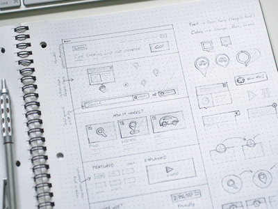 Early sketches for a website wireframe sketch web pencil dot grid book pen pentel prototype