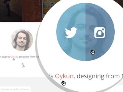 Hover website web ui landing page hover avatar twitter instagram