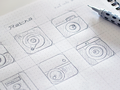Quick sketches for an app icon dotgridbook app icon sketch dotgrid pencil pentel retro app icon ipad camera lens dotgrid book prototype appicon