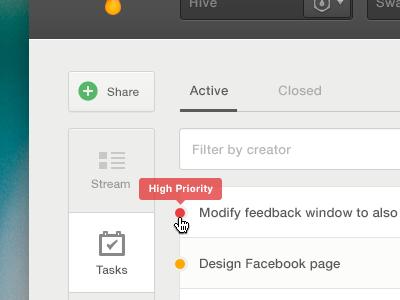 High Priority Task website ui web ui task todo list share nav vertical tooltip web