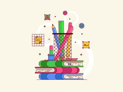 Study Supplies - 2D school 2d design bright color simple design cute illustration flatdesign colorful illustrator supplies study illustration