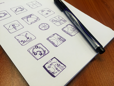 Early sketches for the Playbbboard Icon app icon idea illustration concept sketchbook sharpie sketch ios icon
