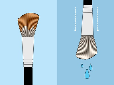 How To Clean Brushes vector illustration cleaning brush tutorial infographic makeup