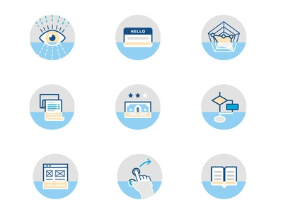 Icon set for Product Management areas product management id tag bill vision usability documentation wireframes checklist icons icon set product