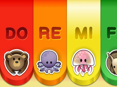 Colorful keyboard ui keyboard kids children app ipad doremi music compose notes animals zoo bear octopus jellyfish
