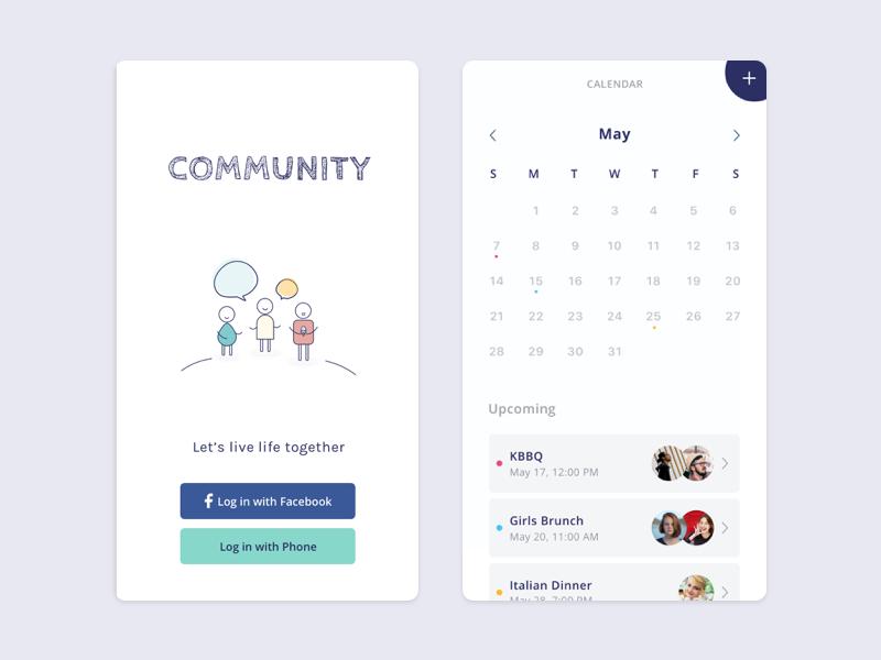 Community login calendar community debut