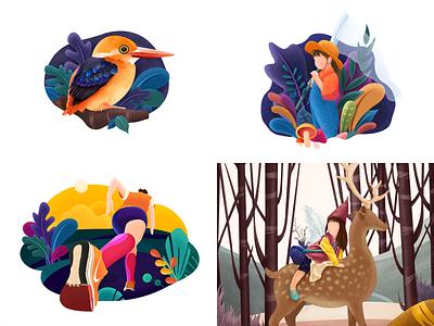 Top 4 shots of 2018 animation typography inset little design bird illustration girl ui