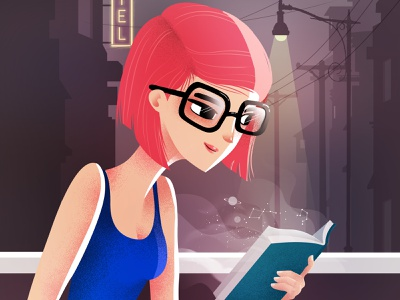 When a book is magic reader book lover books universe magic character design vector illustration