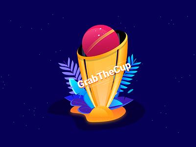 Cricket World Cup creative prediction fantasy badge grabthecup winner cup cricket vector branding graphic design design illustrations