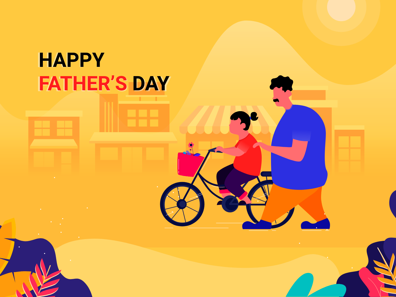 Fathers Day design vector graphic design branding illustrations girl sunny day shot scenery cycle fathers day fathersday