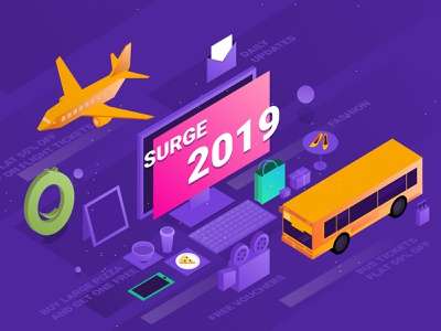 GrabOn Surge 2019 discounts vouchers coupons offers flight tickets 3d review report interface shot illustration graphic design isometric landingpage grabon 2019 year in review surge