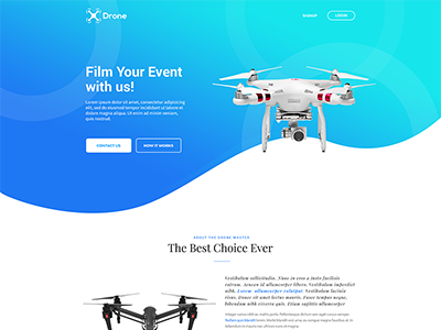 Drone landing Page web landing page drone