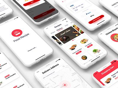 Food Recipe Mobile App hitea hotel fastfood bbq italianfood desifood seafood dishes restaurant app mobile recipe food