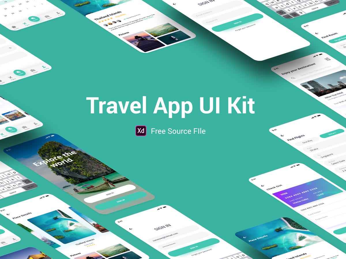 Travel App UI Kit mobile app design holidays hotel fashion food fly travel applicaiton mobile app app mobile