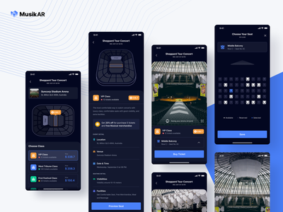 Mixed Reality | Seat Selection dark music concert augmentedreality 360 selection seat ui uidesign app uiux ios design minimal