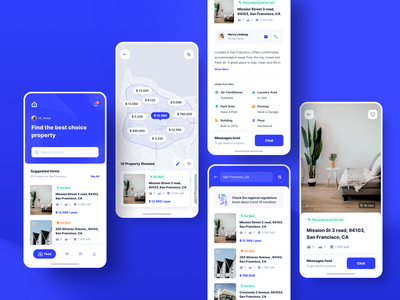 Exploration | Rent & Sales Property  - Home and Detail Section ui app design minimal mobileapp mobile ios uidesign uiux appartement hotel blue detail page home property house rent house rental app rent