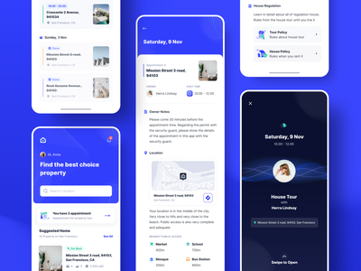Exploration | Rent & Sales Property - Appointment Pages property developer detail mobile app mobile ui andorid tour reminder property appointments blue ui illustration uidesign ios uiux design minimal