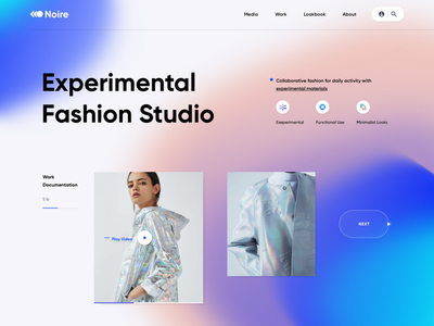 Exploration | Fashion Studio - Landing Page minimal streetwear culture clothing pink blue studio model uiux ui desktop web fashion experimental exploration landingpage