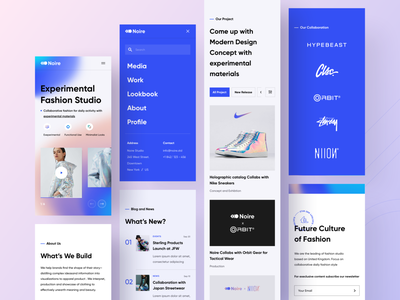 Exploration | Fashion Studio - Landing Page | Mobile Version popular streetwear experimental studio fashion landingpage mobile ui mobile android blue ui app uidesign ios uiux design minimal