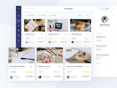 Coursefield Dashboard academic bussiness design minimal courses webdesign uidesign uiux dashboard