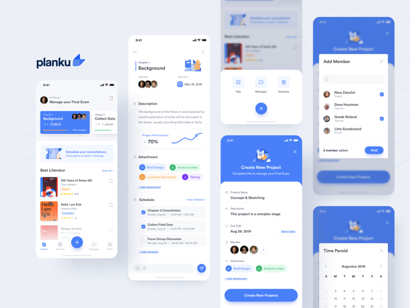 #Exploration | Planku - Final Exam Management App cards product design product illustrations icons goals blue activity campus students appointments uiux illustration ios app academic ui design minimal
