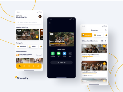 #Exploration | Sharerity - Home section exploration help people fundrising charity yellow webdesign illustration ui ios app uiux design minimal