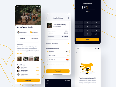 #Exploration | Sharerity - Donation section detail method empty state charitywater payment share charity yellow donation illustration uidesign ios app uiux design minimal