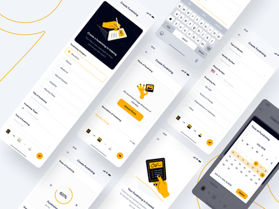 #Exploration | Sharerity - Create Fundrising datepicker upload fundrising create new textfield charity yellow dashboard illustration uidesign ios app uiux design minimal