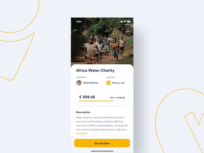 #Exploration | Sharerity - Donation Interaction fundrising payment charity donation interaction design interaction yellow illustration uidesign ios app uiux design minimal
