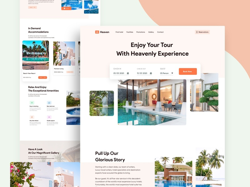Heaven Travels landing page design design layout homepage vacation scenery holiday travel website pond explore people landscape journey typography illustration character backpacker adventure traveling