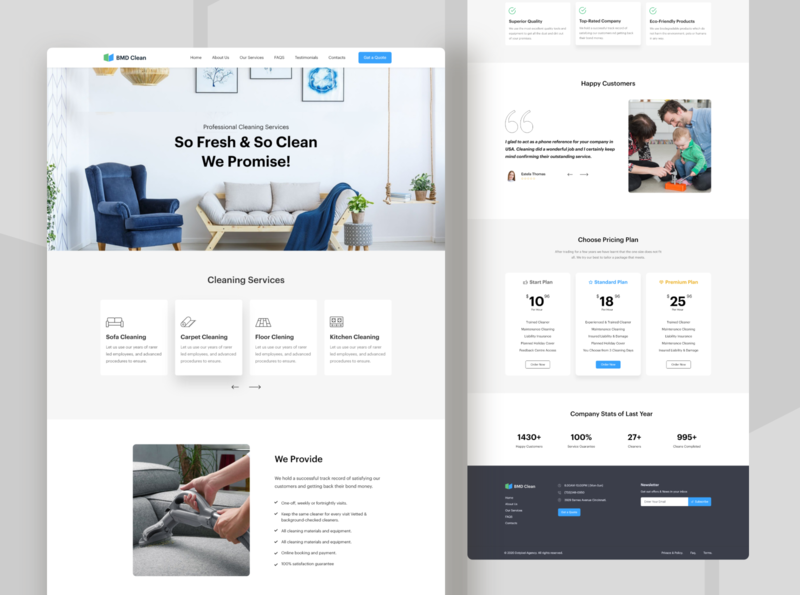 BMD Clean Website Design consultancy enterprise ux platform design web interfece illustration wordpress design cleaning company services design app clean ui mobile website design clean dotpixel-agency application service app services page cleaning service
