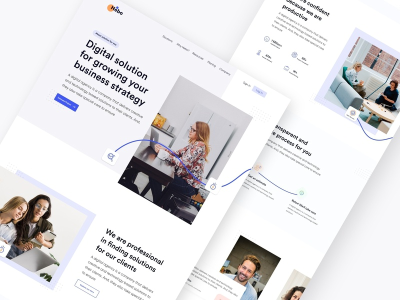Hebo ll Digital Marketing Agency Landing Page digital painting love user experience user interface dotpixel-agency landingpage agency landing page marketing agency marketing digital furniture dotpixsel illustration accessories fashion financial business design corporate consultancy