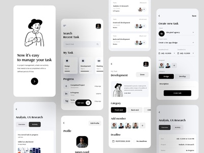 Task Management Mobile Application Design community illustration financial corporate consultancy daily challange love clean app black creative agency customer support trendy user interface design user interface ios application design mobile ui management task