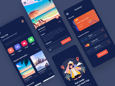 Tripo Travel Mobile Application Design (Dark Version) trip traveling tour tourism service mobile ios design interface cityscape illustratoin dotpixel-agency clean city app designers amimation app android agency advacture