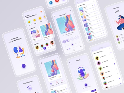 Podcast App Mobile Application Design portfolio color music app song ux streaming pattern ui illustrations clean abstract podcasting player isometry music application app design mobile application app podcast