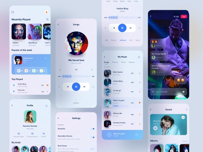 Music Player Mobile Application Design singers red rainbow projection playlist app illustration icons color artwork artist products album minimalist cover design application mobile player music