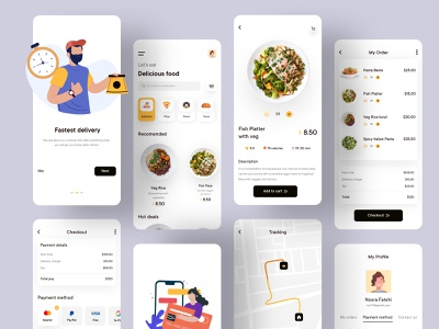 Food Delivery Mobile Application Design map road cart menu order fresh food burger logo mobile ui dashboard app dotpixel-agency food delivery application illustration service app mobile delivery service mobile app food delivery food and drink app design food app food