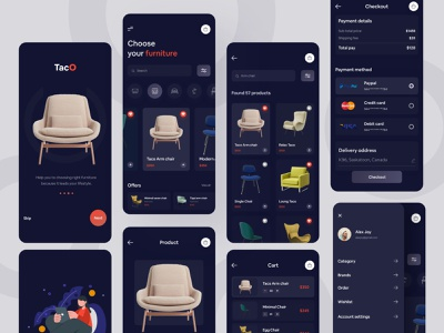 Furniture e-commerce Mobile Application design (Dark Version) financial fashion branding illustrations uidesign sofa application clean animation 2d corporate chair dotpixel-agency product custom logo design furniture animation